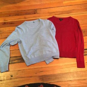2 of J Crew's Tilly crewneck merino wool sweaters